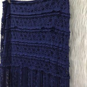 Miami blue lace boho festival skirt